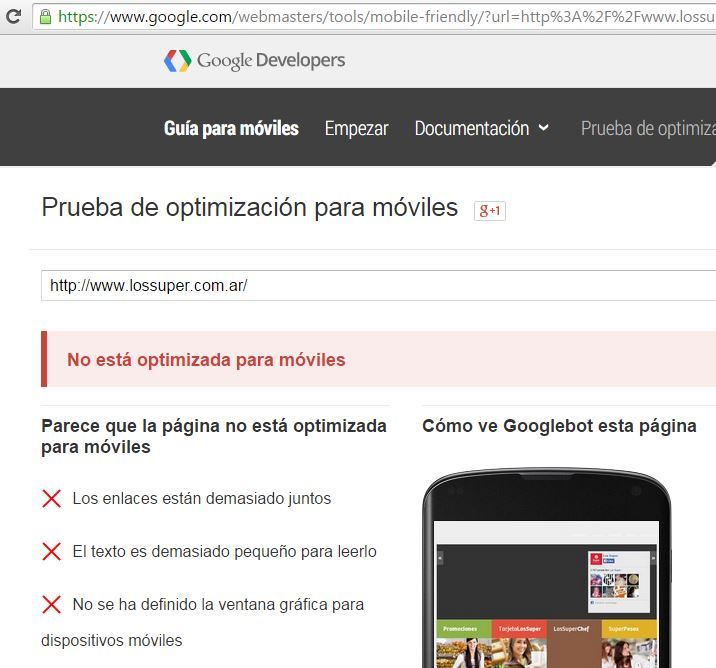 web no optimizada