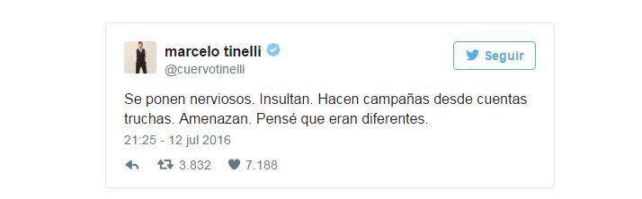 Tinelli contra trolls Cambiemos